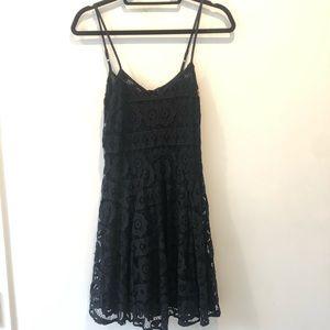 Black aqua spaghetti strap dress